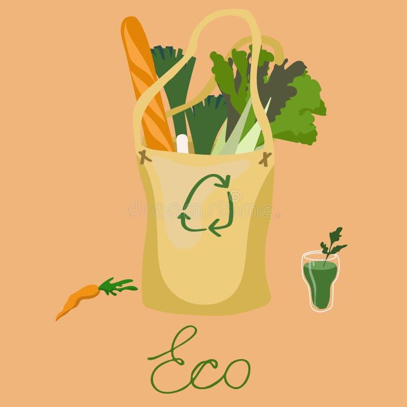 Sans déchets zéro d'inscription, blanc sur une image verte de vecteur de logo de fond illustration libre de droits