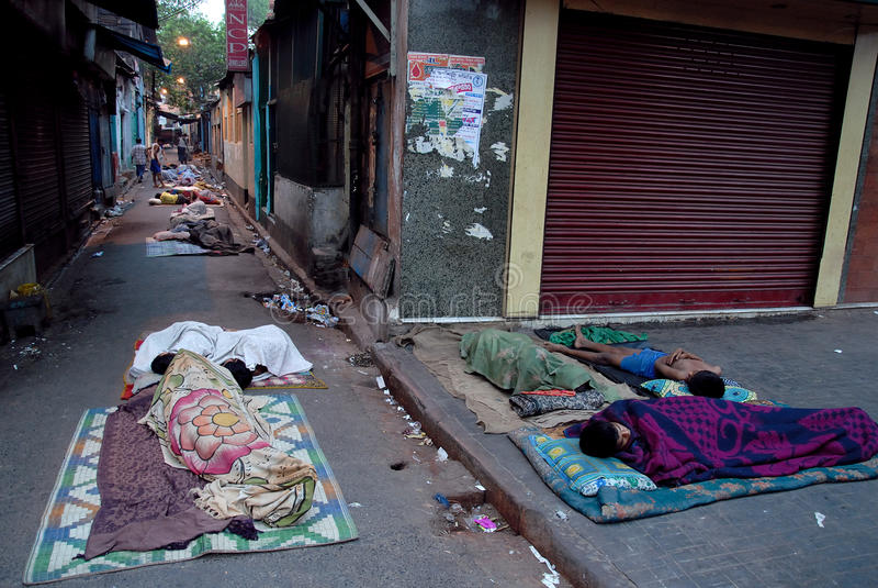 Sans domicile fixe en Inde photographie stock libre de droits