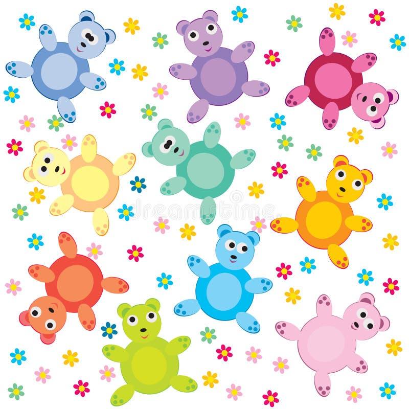 Sans joint avec les ours de nounours colorés illustration libre de droits