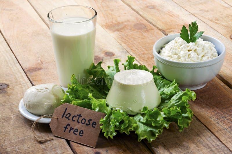 Sans lactose - nourriture avec le fond image libre de droits