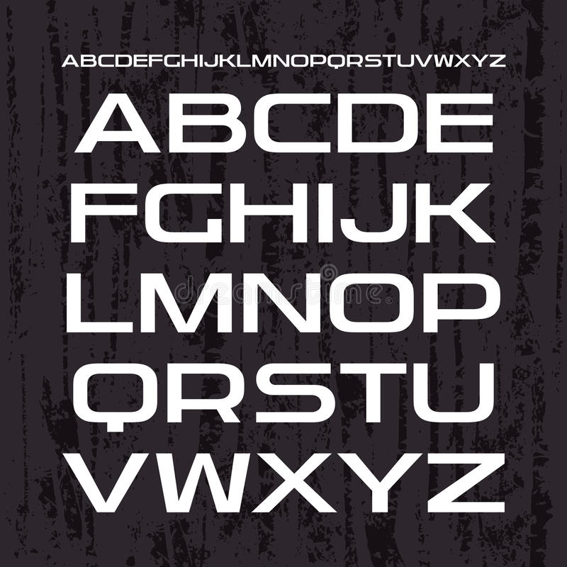 Sans serif chrzcielnica w retro bieżnym stylu ilustracja wektor