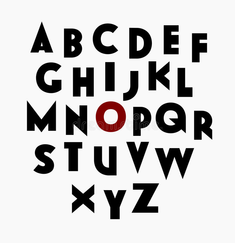 Sans serif decorative font stock illustration
