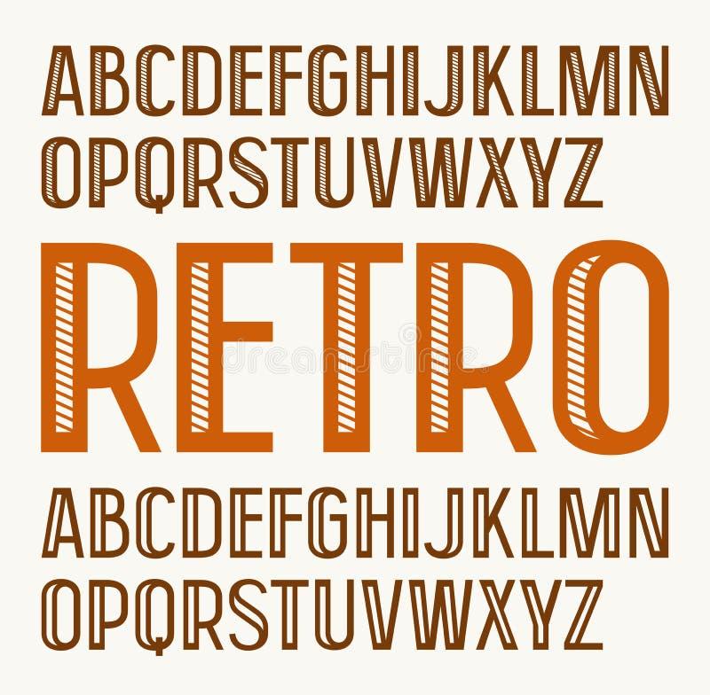Sans serif decorative font in retro style stock illustration