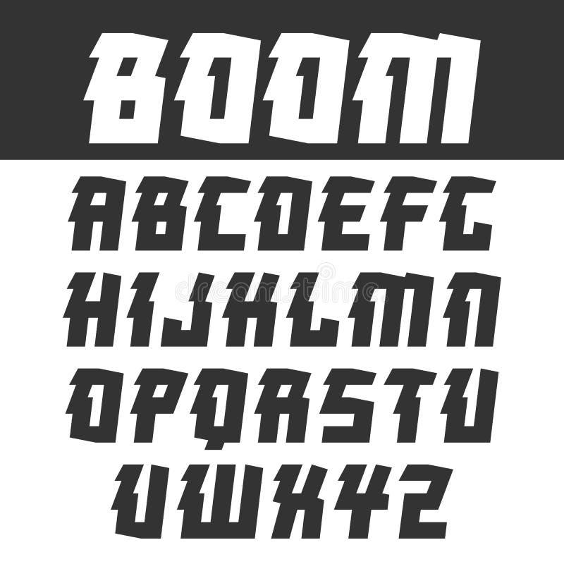 Sans serif font for headlines in oriental style. Black font on light background stock illustration