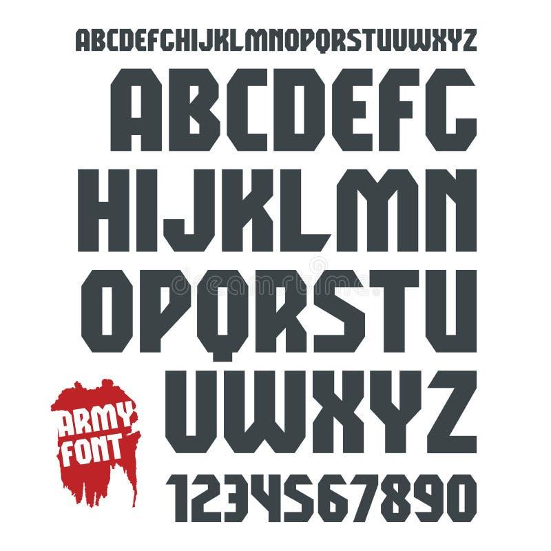 Sans Serif geometrisk militär stilsort och tal royaltyfri illustrationer