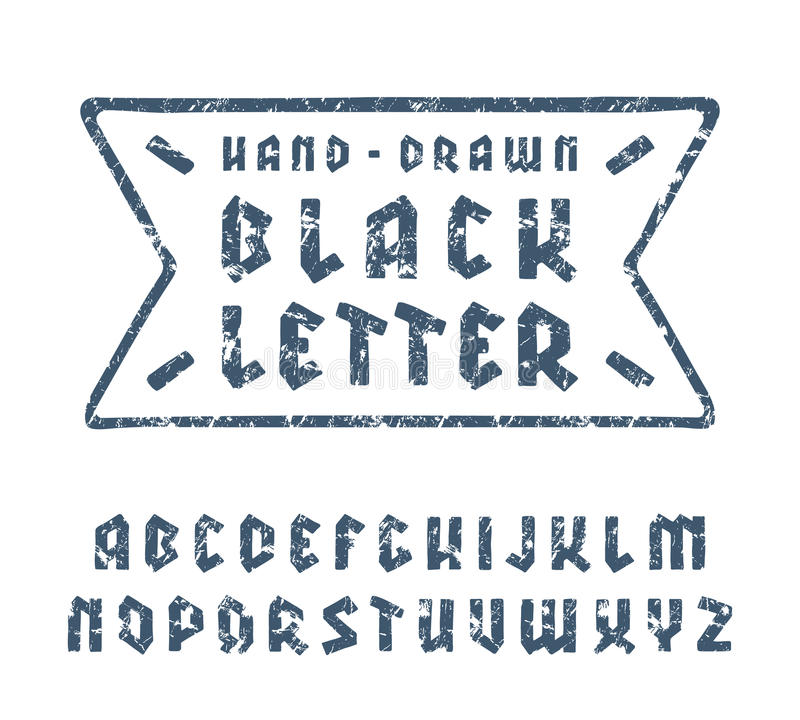 Sanserif font in black letter style with hand-drawn soft shape. Blue print with shabby texture on white background vector illustration