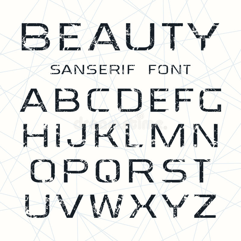 Sanserif font in thin line style. With texture. Black print on white background vector illustration