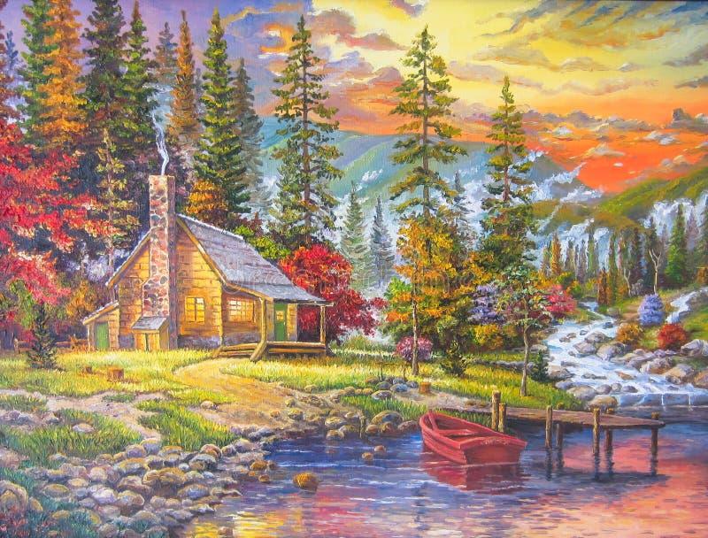 Sanset in het bos stock illustratie
