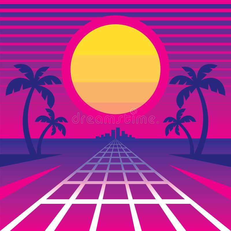 Sanset y manera tropicales a la ciudad - ejemplo del vector del concepto en el estilo retro de los años 80 de la música de la ond ilustración del vector