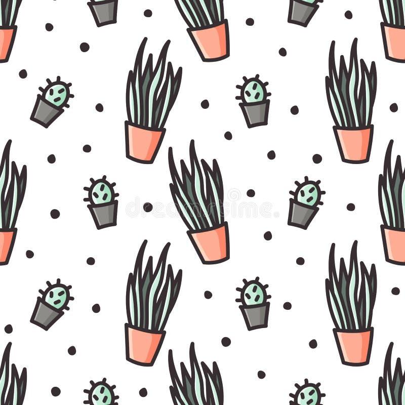 Sansevieria и картина стиля doodle кактуса безшовная бесплатная иллюстрация