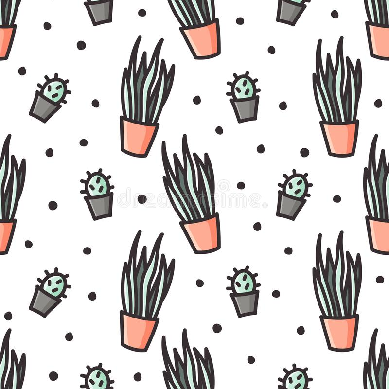 Sansevieria and cactus doodle style seamless pattern royalty free illustration