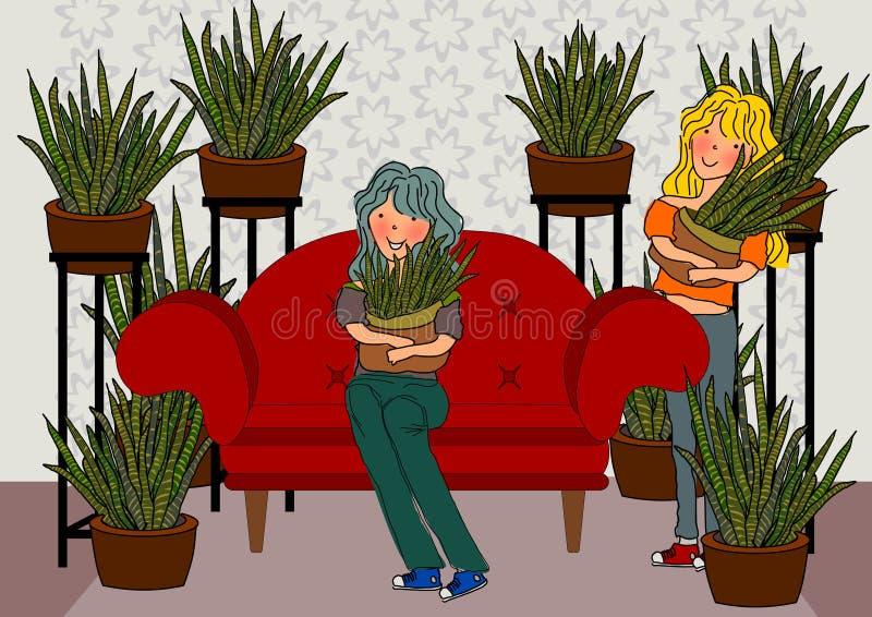 Sansevieria för ungeflicka och för inomhus växter vektor illustrationer