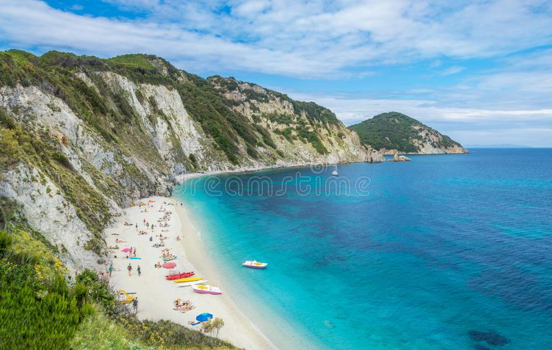 Sansone beach in Elba island, in summer season. Sansone beach from the air in summertime, Italian holiday bay, relaxation and vacation place on the coast of Elba stock photo