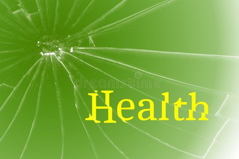 Santé anglaise des textes sur le verre cassé Concept de problèmes de santé diseases images stock