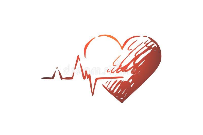 Santé, coeur, soin, battement de coeur, concept de cardiogramme Vecteur d'isolement tiré par la main illustration de vecteur