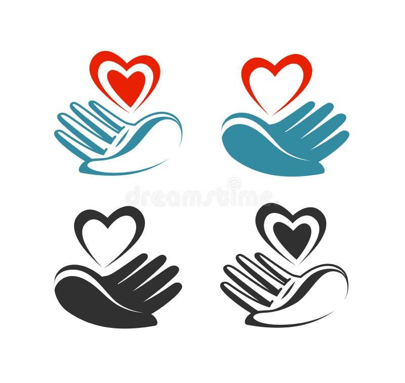 Santé, donation, logo de charité ou label Main tenant le coeur, symbole Illustration de vecteur illustration de vecteur