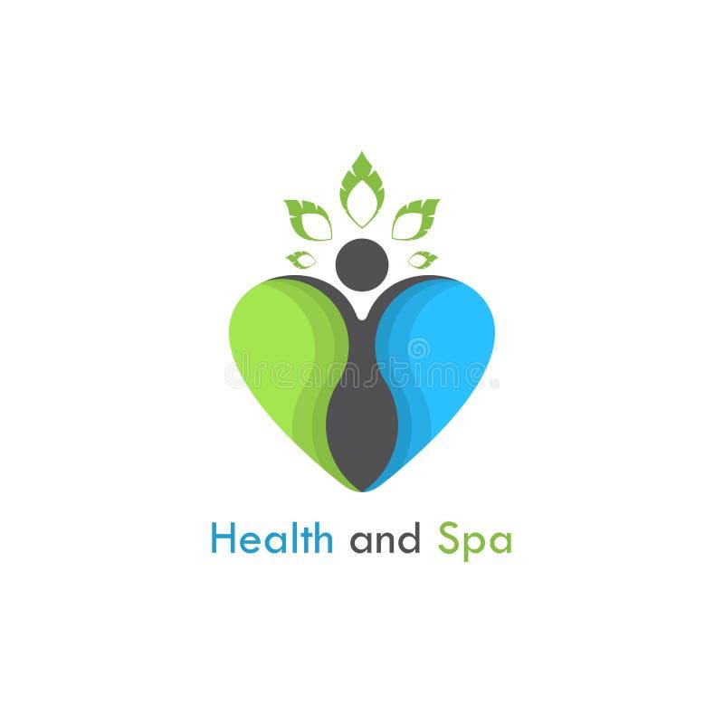 Santé et calibre de conception de logo de vecteur de station thermale Soins de santé et sy médical illustration stock