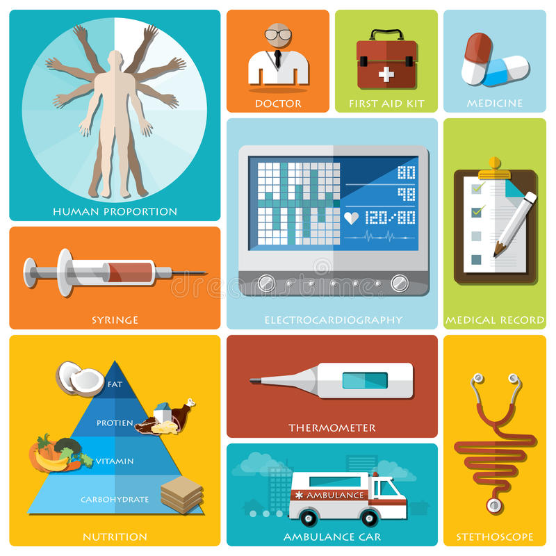 Santé et ensemble plat médical d'icône illustration de vecteur