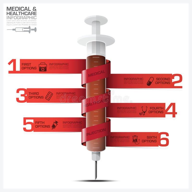 Santé et Infographic médical avec la seringue Diag d'étiquette de spirale de grippage illustration libre de droits