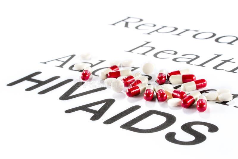 Santé génésique par l'adolescent, SIDA, HIV, sicknes de médicament photos libres de droits