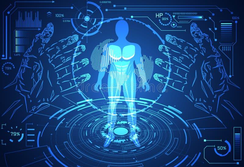 Santé humaine de données de technologie de concept abstrait de la science numérique : illustration libre de droits