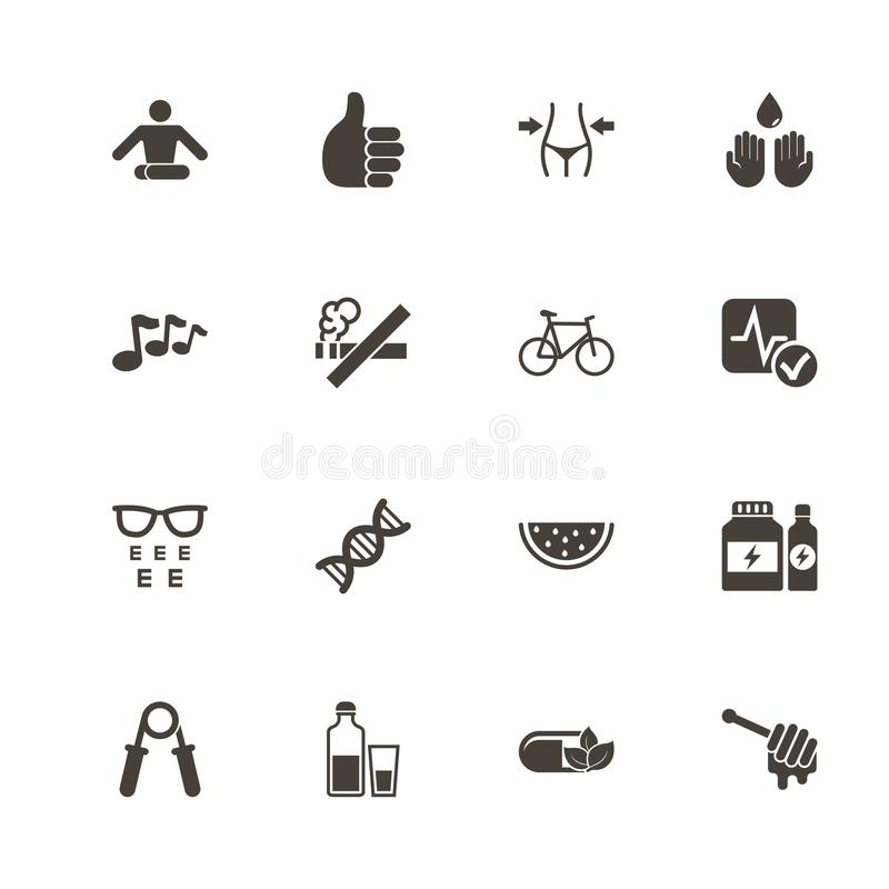 Santé - icônes plates de vecteur illustration stock