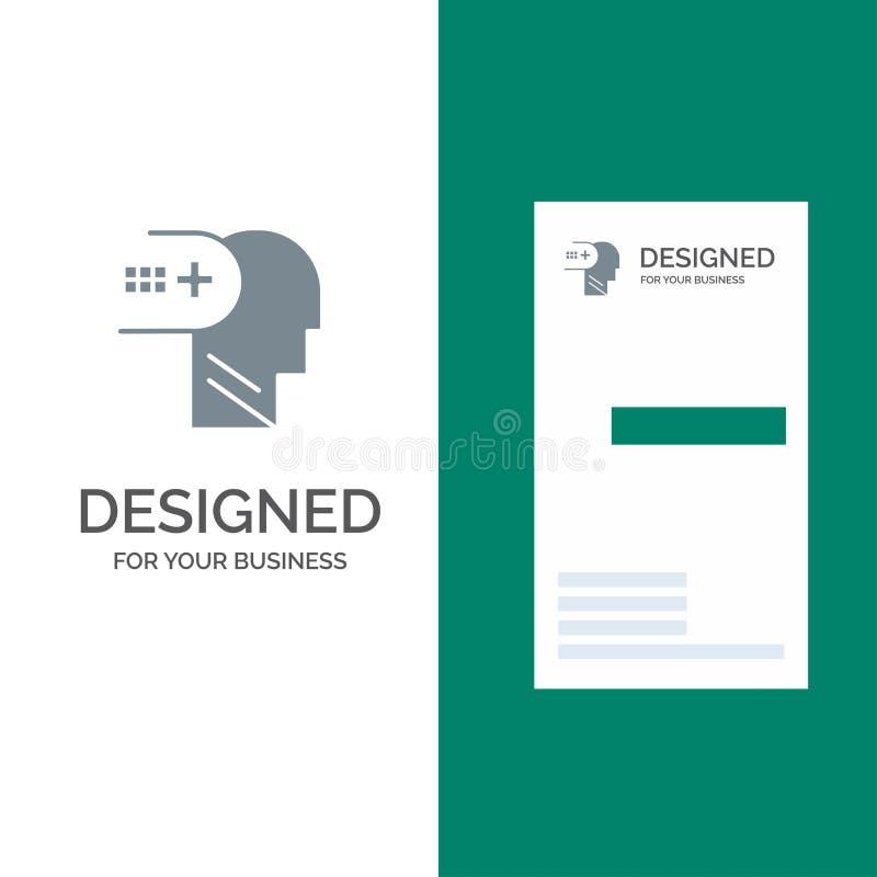 Santé, mental, médical, esprit Grey Logo Design et calibre de carte de visite professionnelle de visite illustration de vecteur