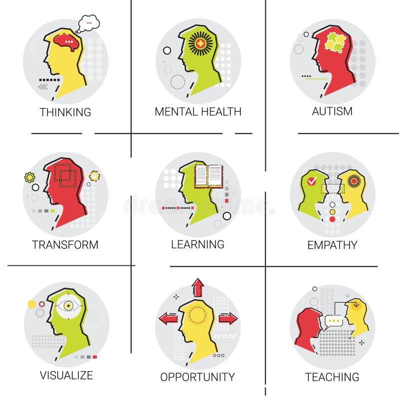 Santé mentale Brain Activity, les gens se sentant, la connaissance d'autisme apprenant l'ensemble en ligne d'icône d'éducation illustration stock