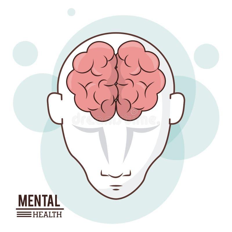 Santé mentale, conception d'intelligence d'avant de cerveau de tête humaine illustration libre de droits
