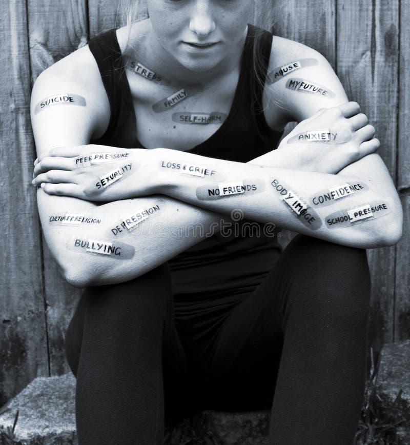 Santé mentale d'inquiétude de l'adolescence de dépression images libres de droits