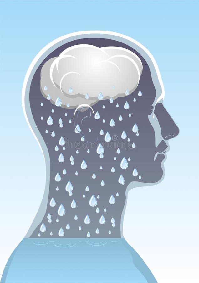 Santé mentale. Mal de tête illustration de vecteur