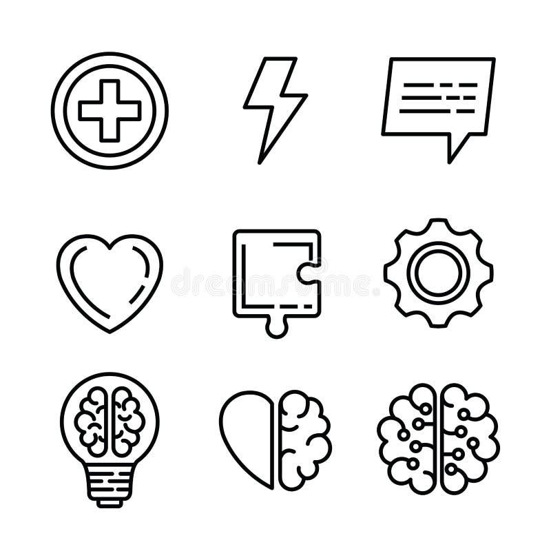 Santé mentale réglée avec le puzzle et l'idée d'ampoule illustration stock