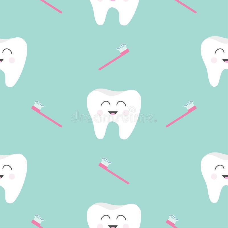 Santé sans couture de dent de brosse de modèle Caractère de sourire de bande dessinée drôle mignonne Hygiène dentaire orale Soin  illustration stock