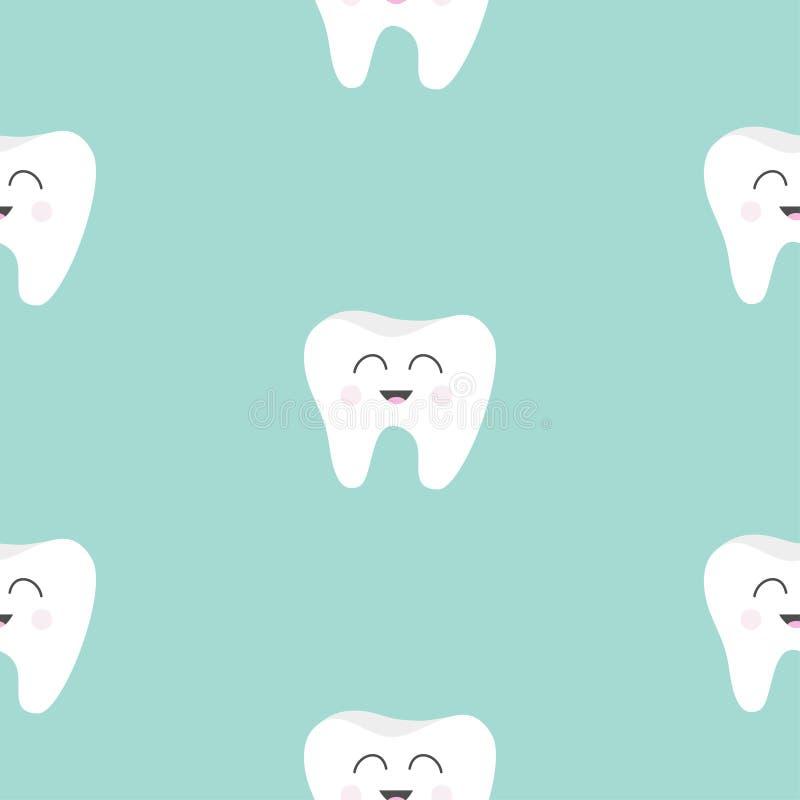 Santé sans couture de dent de modèle Caractère de sourire de bande dessinée drôle mignonne Hygiène dentaire orale Soin de dents d illustration libre de droits