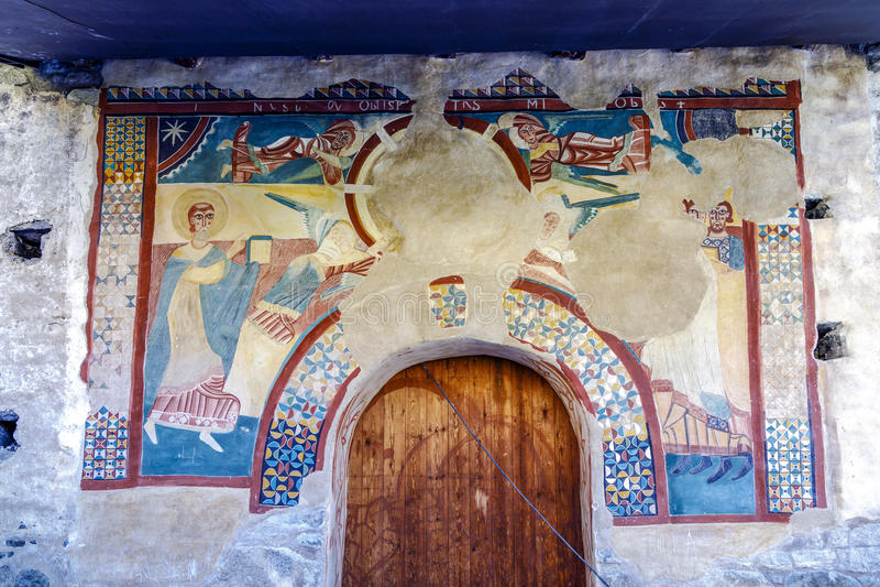 Sant霍安在Bohi谷的de Boi罗马教会,卡塔龙尼亚-西班牙 免版税图库摄影