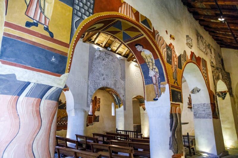 Sant霍安在Bohi谷的de Boi罗马教会,卡塔龙尼亚-西班牙 库存照片