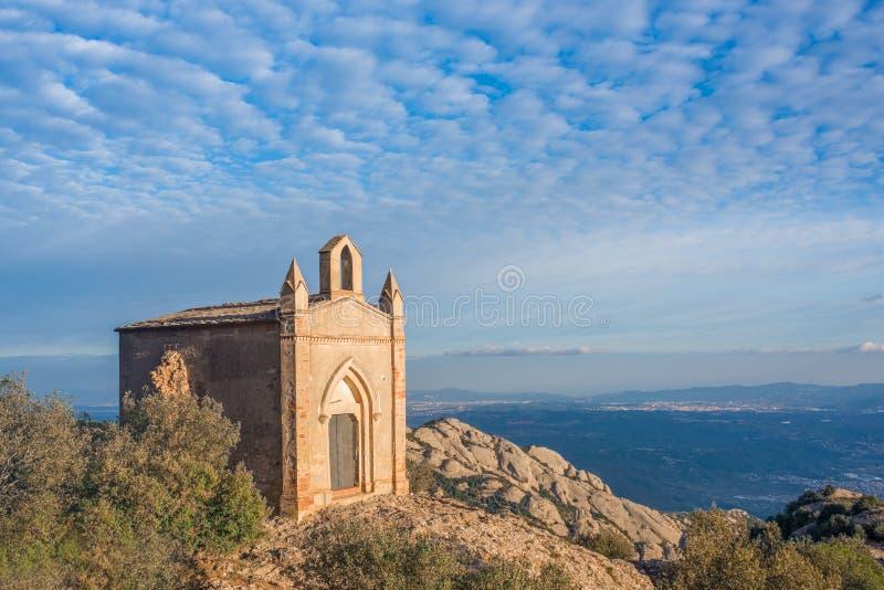 Sant霍安,蒙特塞拉特,卡塔龙尼亚,西班牙教堂  免版税图库摄影