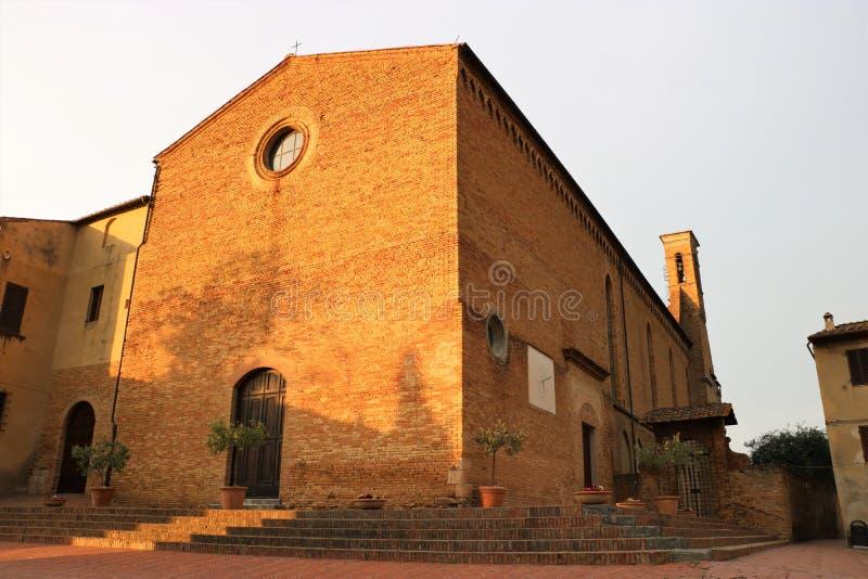 """Sant """"Agostino Church, San Gimignano photos libres de droits"""