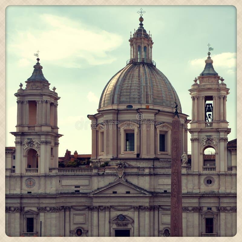 Sant'Agnese教会在过去的 库存照片