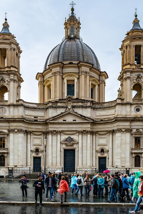 Sant 'Agnese i Agone också kallade Sant 'Agnese i piazza Navona en barock kyrka för 17th århundrade i Rome royaltyfri foto