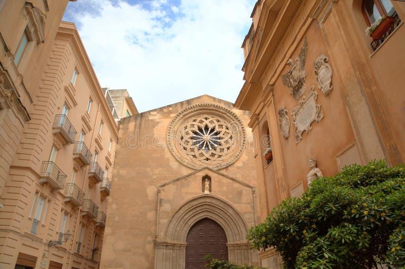 Sant'Agostino教会在特拉帕尼。 库存图片