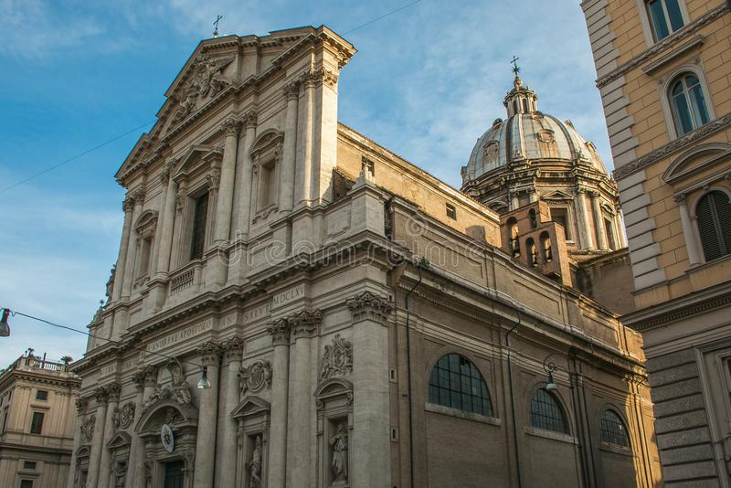 Sant ` Andrea della Valle is een minder belangrijke basiliek in rione van Sant ` Eustachio van de stad van Rome stock foto
