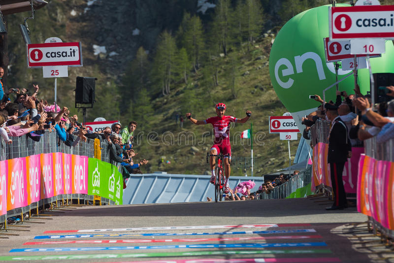 Sant Anna, Italy May 28, 2016; Rein Taaramae, Katusha team, exhausted passes the finish line and Win a hard mountain stage royalty free stock photography