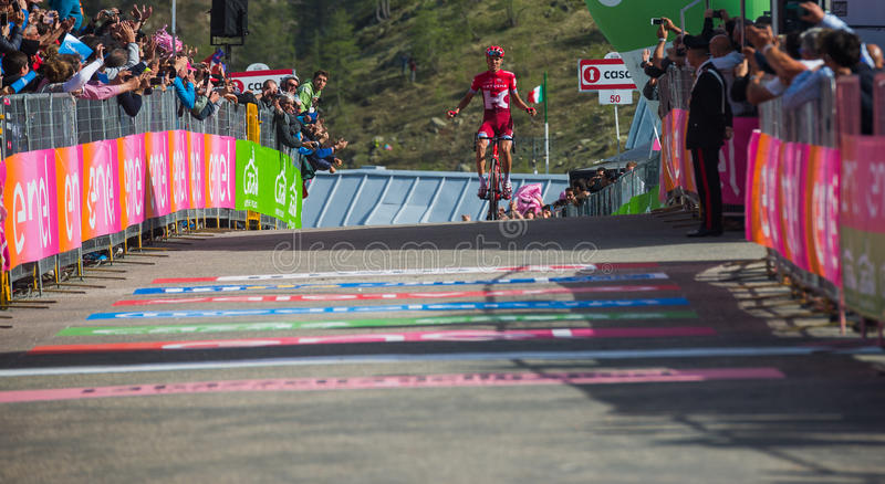 Sant Anna, Italy May 28, 2016; Rein Taaramae, Katusha team, exhausted passes the finish line and Win a hard mountain stage. With a uphill finish in Sant Anna di stock photos