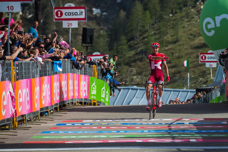 Sant Anna, Italy May 28, 2016; Rein Taaramae, Katusha team, exhausted passes the finish line and Win a hard mountain stage. With a uphill finish in Sant Anna di royalty free stock photography
