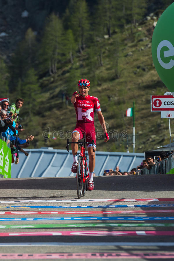 Sant Anna, Italy May 28, 2016; Rein Taaramae, Katusha team, exhausted passes the finish line and Win a hard mountain stage. With a uphill finish in Sant Anna di royalty free stock photos
