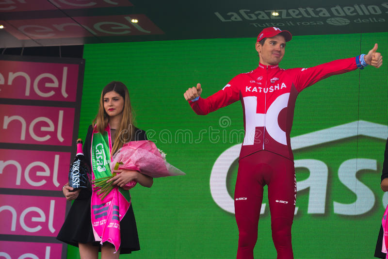 Sant Anna, Italy May 28, 2016; Rein Taaramae, Katusha team, on the podium after winning a hard mountain stage. With a uphill finish in Sant Anna di Vinadio stock photos