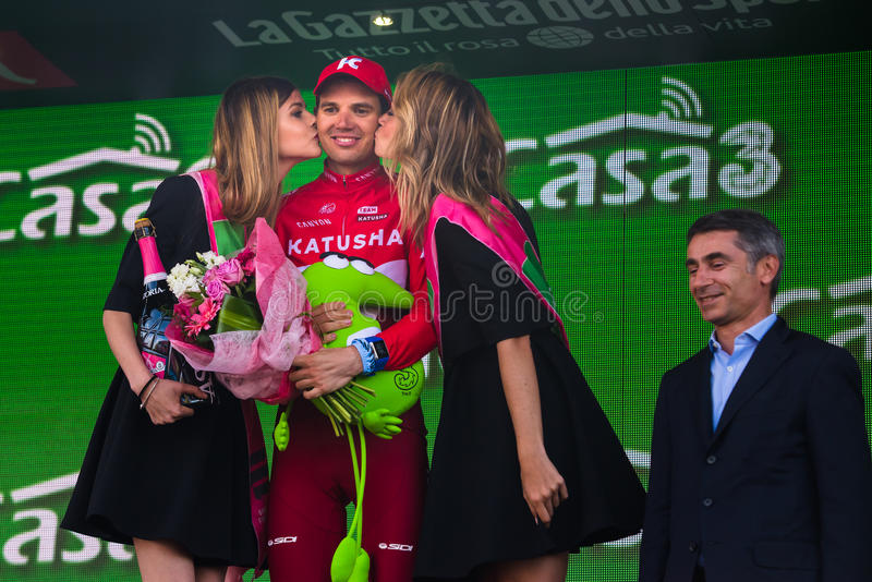 Sant Anna, Italy May 28, 2016; Rein Taaramae, Katusha team, on the podium after winning a hard mountain stage. With a uphill finish in Sant Anna di Vinadio stock photo
