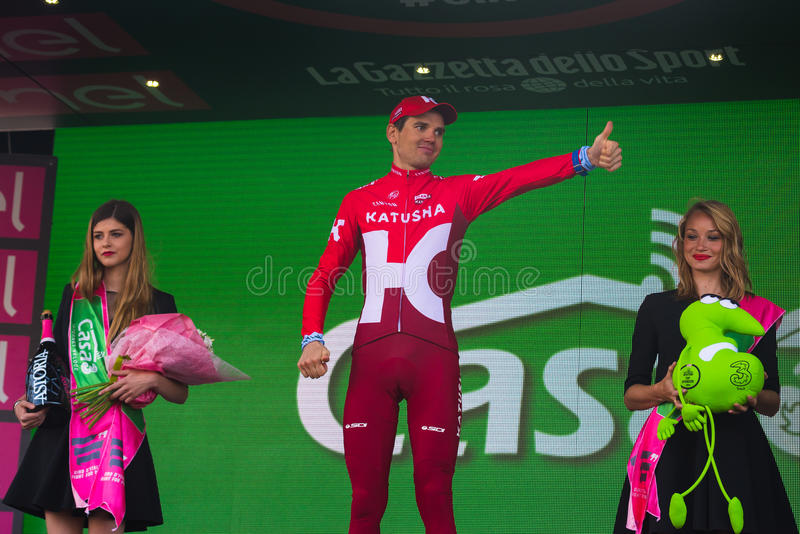 Sant Anna, Italy May 28, 2016; Rein Taaramae, Katusha team, on the podium after winning a hard mountain stage. With a uphill finish in Sant Anna di Vinadio royalty free stock photography