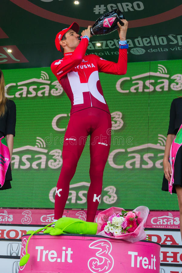 Sant Anna, Italy May 28, 2016; Rein Taaramae, Katusha team, on the podium after winning a hard mountain stage. With a uphill finish in Sant Anna di Vinadio stock images